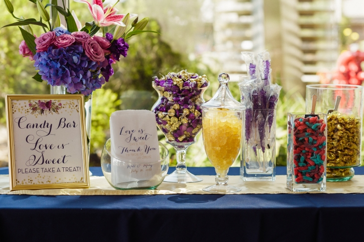 DIY CANDY BAR, ITEMS PURCHASED ONLINE, CUSTOM PARTY FAVOR BAGS, TABLES AND LINEN FROM EVENT PARTY RENTALS, WEDDING COORDINATION BY MAGICAL MOMENTS BY MEGAN, EVENT VENUE SCRIPPS SEASIDE FORUM, CATERING BY THE FRENCH GOURMET