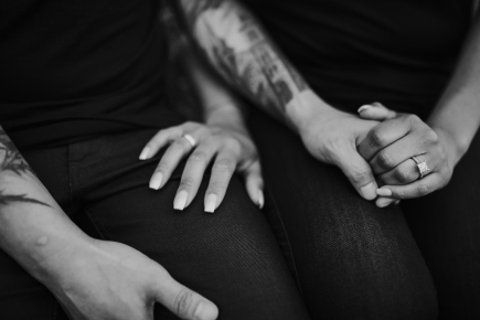 Black and white engagement photo of Yolanda and Toan taken by Sweet Day Studio